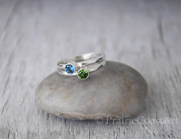 Two Birthstone Rings - Choose a stone Mothers Ring - Sterling Silver Handcrafted - Prairie Coast Art
