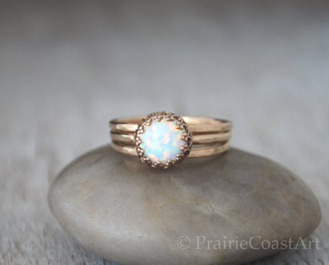 Gold Opal Ring 14k Gold-Filled - Stacking Rings Set - Handcrafted - Prairie Coast Art