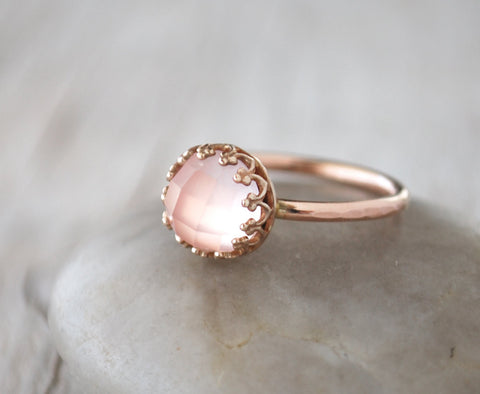 Rose Gold Rose Quartz Ring in 14k Rose Gold-Filled - Prairie Coast Art