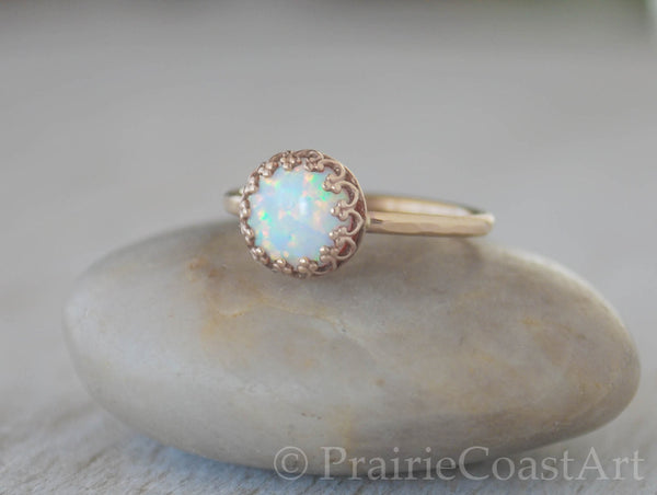 Gold Opal Ring in 14k Gold-Filled - Handcrafted - October Birthstone - Prairie Coast Art