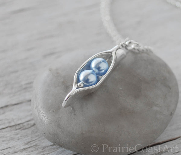 Two Blue Pearl Pea Pod - Silver Pea Pod Mother's Necklace