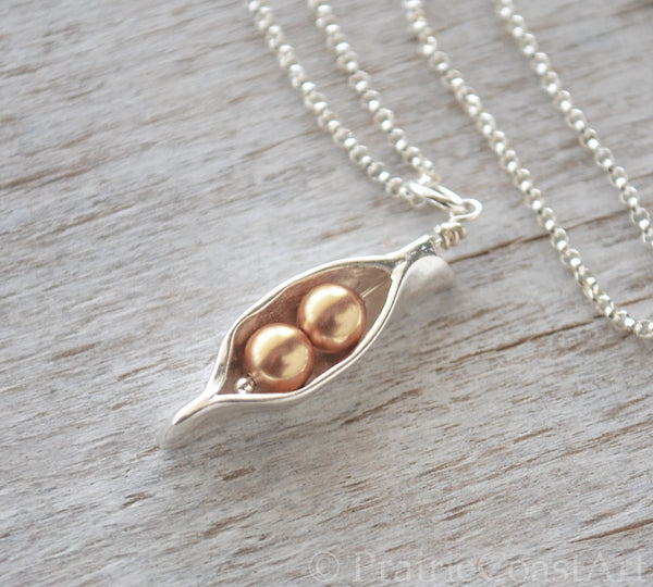 Two Gold Pearl Pea Pod - Silver Pea Pod Mother's Necklace - Prairie Coast Art
