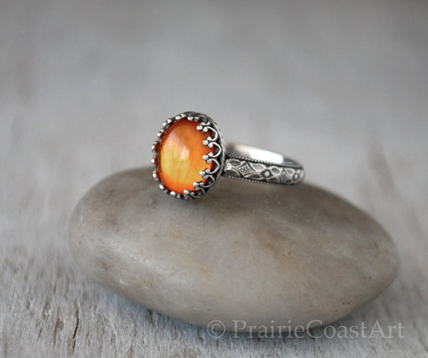 Amber Ring Sterling Silver - Handcrafted - Prairie Coast Art