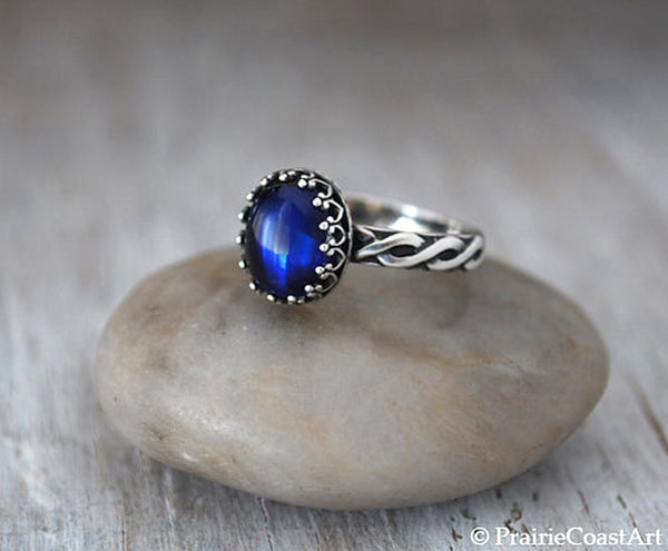 Oval Blue Sapphire Ring in Sterling Silver - Handcrafted - Prairie Coast Art