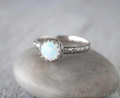 Opal Ring Sterling Silver - Handcrafted - Prairie Coast Art