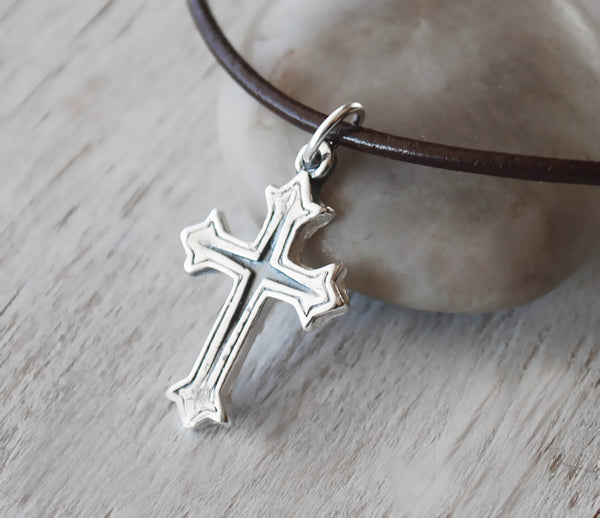 Sterling Silver Cross with Leather Cord - Unisex Eco Friendly Silver - Prairie Coast Art