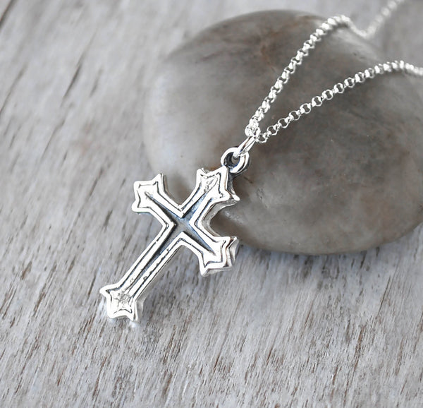 Sterling Silver Cross Necklace -  Handcrafted Jewelry - Prairie Coast Art