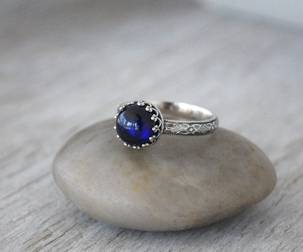 Sterling Silver Sapphire Ring - September Birthstone - Prairie Coast Art