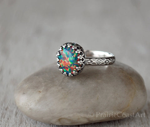 Fire Opal Ring Sterling Silver - Handcrafted - Lab Mexican Fire Opal - Prairie Coast Art