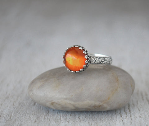 Baltic Amber Ring Sterling Silver - Handcrafted - Prairie Coast Art