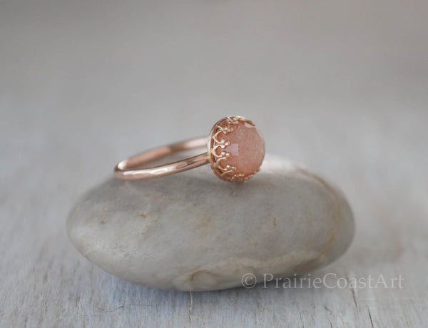 Rose Gold Peach Moonstone Ring in 14k Rose Gold-Filled - Prairie Coast Art