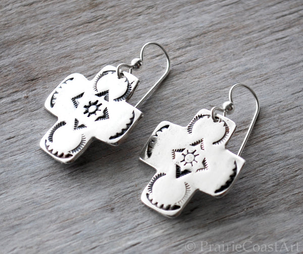 Silver Cross Earrings - Hand stamped Southwestern style Sterling Silver - Prairie Coast Art