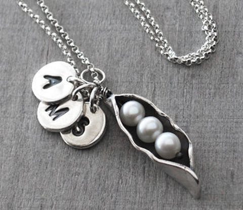 Personalized Silver Pearl Peas in Pod Mother's Necklace - with three letters - Prairie Coast Art