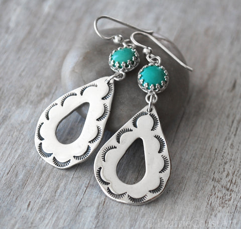 Silver Turquoise Earrings - Handcrafted Southwestern Style - Prairie Coast Art