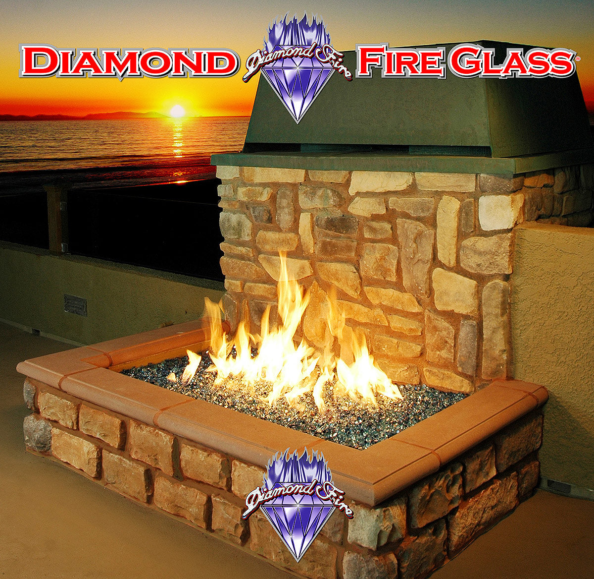 Blue and Teal reflective fire pit fireplace glass installed in a rooftop beachfront outdoor fire pit