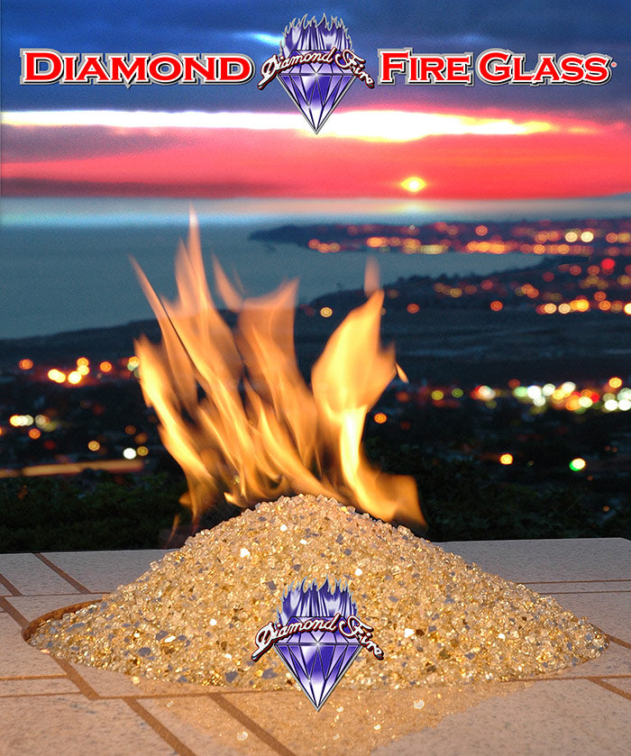 Gold fire pit fireplace glass installed in outdoor fire pit