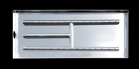 18 Inch Stainless Steel H-Burner with Pan by Diamond Fire Glass