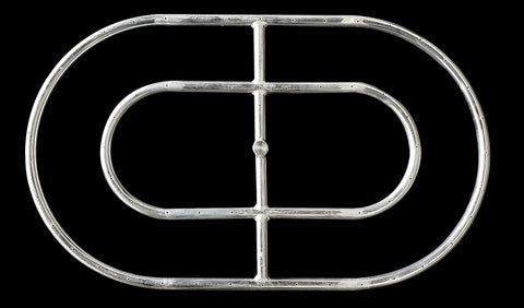 "18"" x 30"" Stainless Steel Rounded Racetrack Fire Pit Rings"