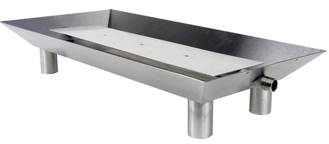 "Fluted Rectangle Stainless Steel Pan Burner - 24"" x 12"" x 4.25"""