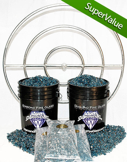 Fire Pit Glass Kit with 36 Inch Ring - 150 LB - Super Value Kit