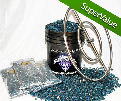 Fire Pit Glass Kit with 24 Inch Ring - 90 LB - Super Value Kit