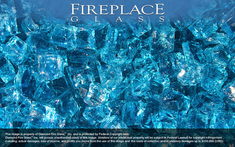 Bahama Blue Nugget Fireplace Glass