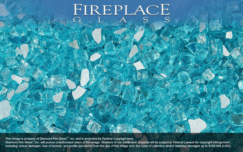 Bahama Blue Reflective Crystal Fireplace Glass
