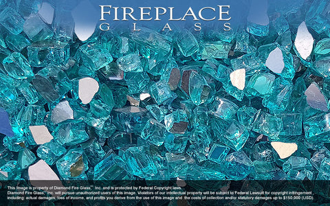 Bahama Blue Reflective Nugget Fireplace Glass