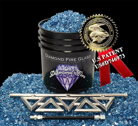 Diamond Series Fireplace Kit with Bali Blue Nugget
