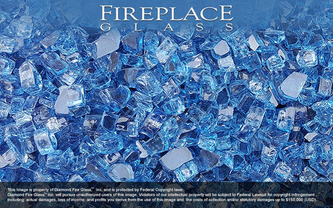 Bali Blue Nugget Fireplace Glass