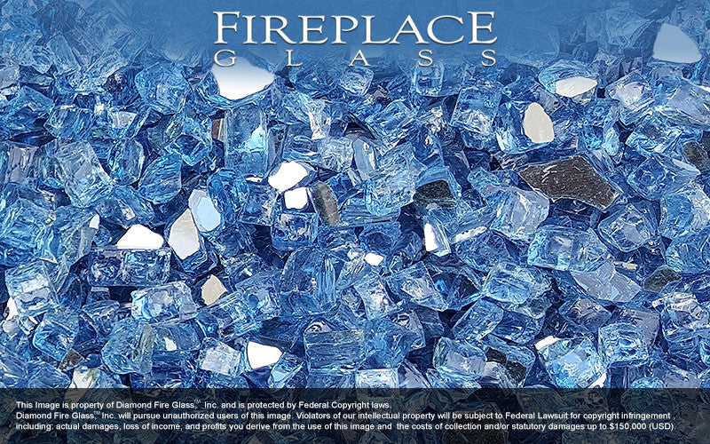 Bali Blue Reflective Nugget Fireplace Glass