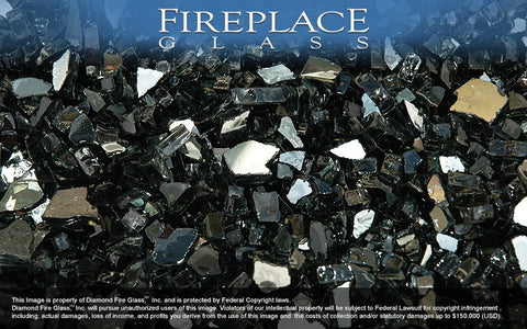 Black Reflective Crystal Fireplace Glass