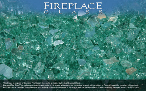 Blue Green Reflective Crystal Fireplace Glass