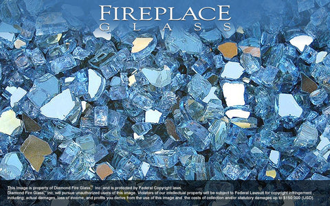 Blue Reflective Crystal Fireplace Glass