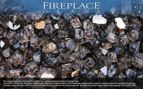 Bronze Reflective Nugget Fireplace Glass