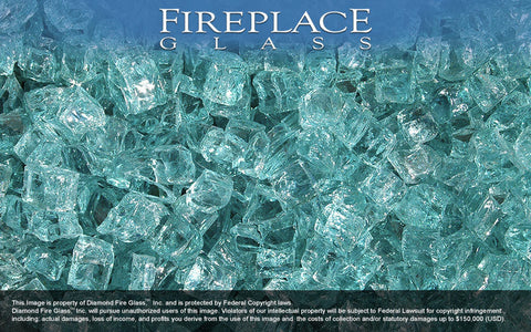 Caribbean Teal Nugget Fireplace Glass