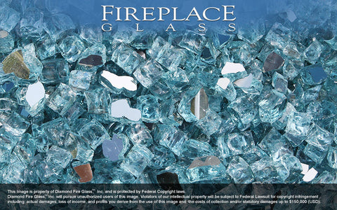 Caribbean Teal Reflective Nugget Fireplace Glass