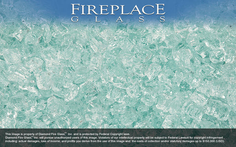 Clear Diamond Nugget Fireplace Glass