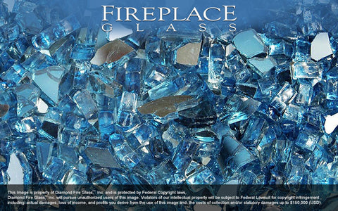 Cobalt Dark Blue Reflective Crystal Fireplace Glass