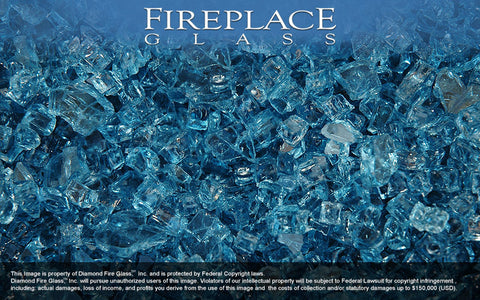 Cobalt Blue Crystal Fireplace Glass