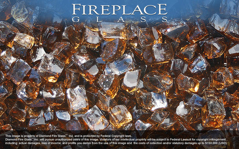 Copper Nugget Fireplace Glass