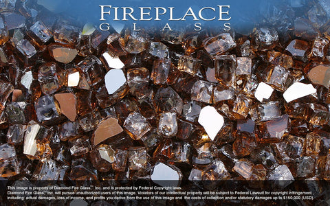 Copper Reflective Nugget Fireplace Glass