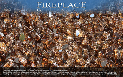 Copper Reflective Crystal Fireplace Glass
