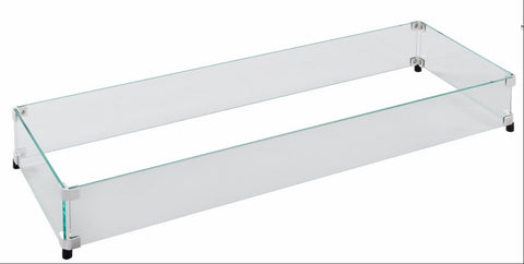 Fire Pit Glass Wind Guards - Linear 55x15 Inch
