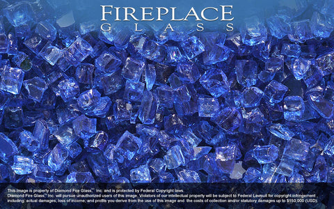 Electric Blue Nugget Fireplace Glass