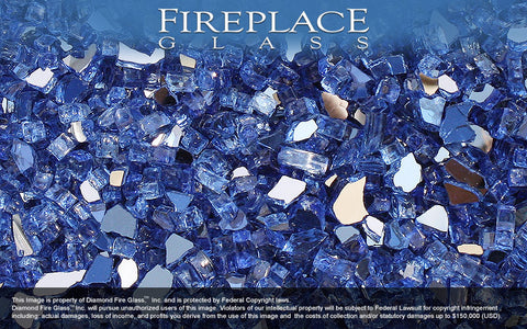 Electric Blue Reflective Crystal Fireplace Glass