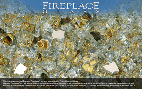 Gold Reflective Nugget Fireplace Glass