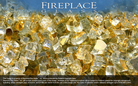 Gold Reflective Crystal Fireplace Glass