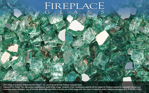 Green Reflective Nugget Fireplace Glass