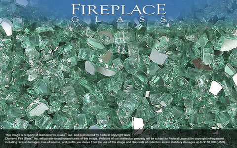 Green Reflective Crystal Fireplace Glass